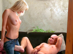 Slick blonde is sucking a dick and fucking in doggy style