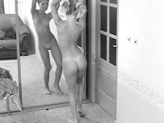 Solo teen models in mirror