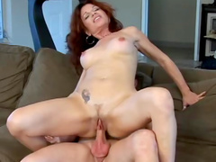 Milf redhead and her lover make porn