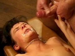 Hardcore blonde is swallowing such a big load of cum