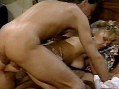 Innocent blonde sucks two dicks in a raw