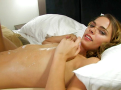 Small-tit Meggan is riding on the dick
