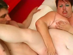 Perverted chubby mature redhead fucks