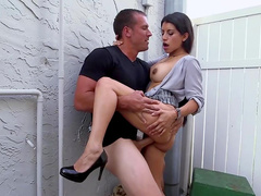 Hottie on high heels deals cock in outdoor
