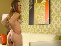 Monica Rise stretching her cute little pussy with pleasure