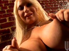 Horny blonde Candy Manson is riding on the dick and getting facial shot