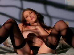 Neat babe touches beautiful shaved pussy
