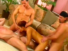 Sweet babe is fucking with slender guys and their long dicks