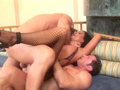 Angelica Lane and Sandra Romain fuck with two big cocks