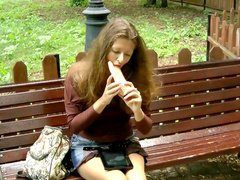 Public self-fucking with skinny young brunette