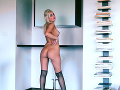 Fantastic blonde Shelby Nicole in black stockings