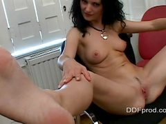 Perverted busty brunette Kira shows her pussy