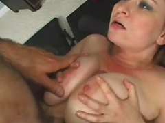 Busty slut in tube top fucked by trainer