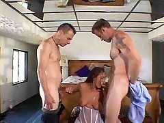 Licked and fucked by two guys