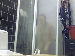 My girlfriend takes a shower