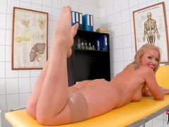Good nurse Kathia Nobili is masturbating that cock