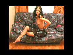 Skinny girl looks best in pantyhose