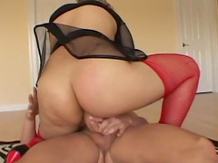 Tanned brunette was drilled deep in her anal