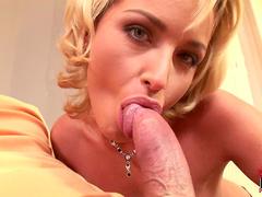 Cute blonde Kathia Nobili is masturbating a slender dick