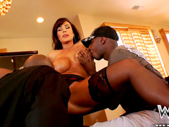 Glamorous model fuck with two black cocks