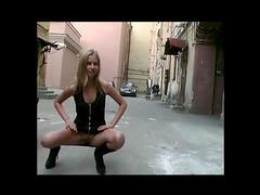 Yulya posing in the public place, insane lady!