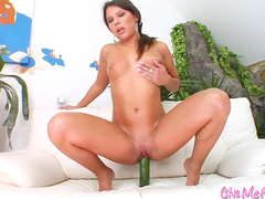 Pigtailed babe with pink pussy is masturbating
