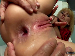 Slender blonde gets fucked in her puss by an old men