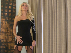 Curly busty blonde Alicia Secrets is playing with her puss