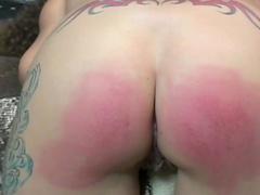 Ass turns red under harsh paddling