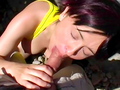 Alluring brunette loves to feel dick in her mouth