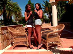 Brunette European lesbians and hot sex