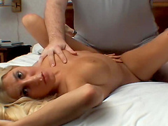 Cute blonde amateur fucked in facial video