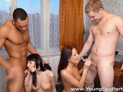 Hot group interracial scene with Elena and Mari