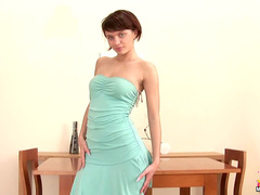 Sexy strapless dress on hot Russian teen