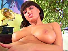 MILF is getting dildo deep in her shaved pussy
