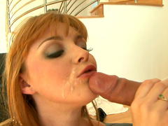 Sexy redhead cutie Marie McCray is riding on the dick