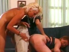 FFM threesome with sexy blonde Kira Red