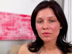 Amateur brunette Sharon stretches hairy hole