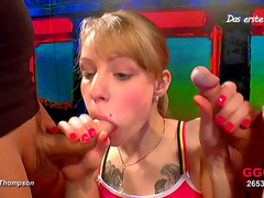 Innocent tattooed blonde Meli is swallowing tones of sperm