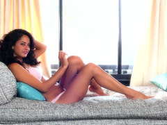 Brunette is playing with her lovely puss