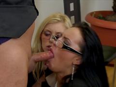 Two secretaries are sucking boss's dick
