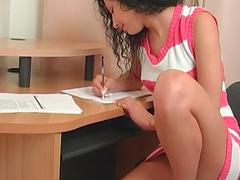 Teen stops homework to masturbate pussy