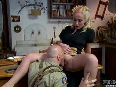 Busty blonde fuck in her puss and face