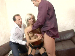 Young blonde Liana was fucked in her accurate shaved pussy