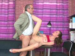 Young brunette Arina is sucking teacher's dick