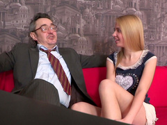Beauty blonde Mary is sucking a nice dong