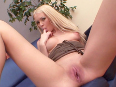 Babe blonde Angy B is fucking with this dildo