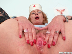 Old nurse in naughty black stockings