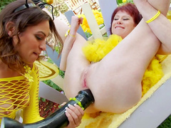 Amber Rayne and Dirty Garden Girl fucks with black