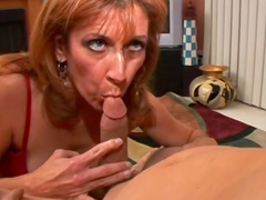 Mature banged by her toy and his cock